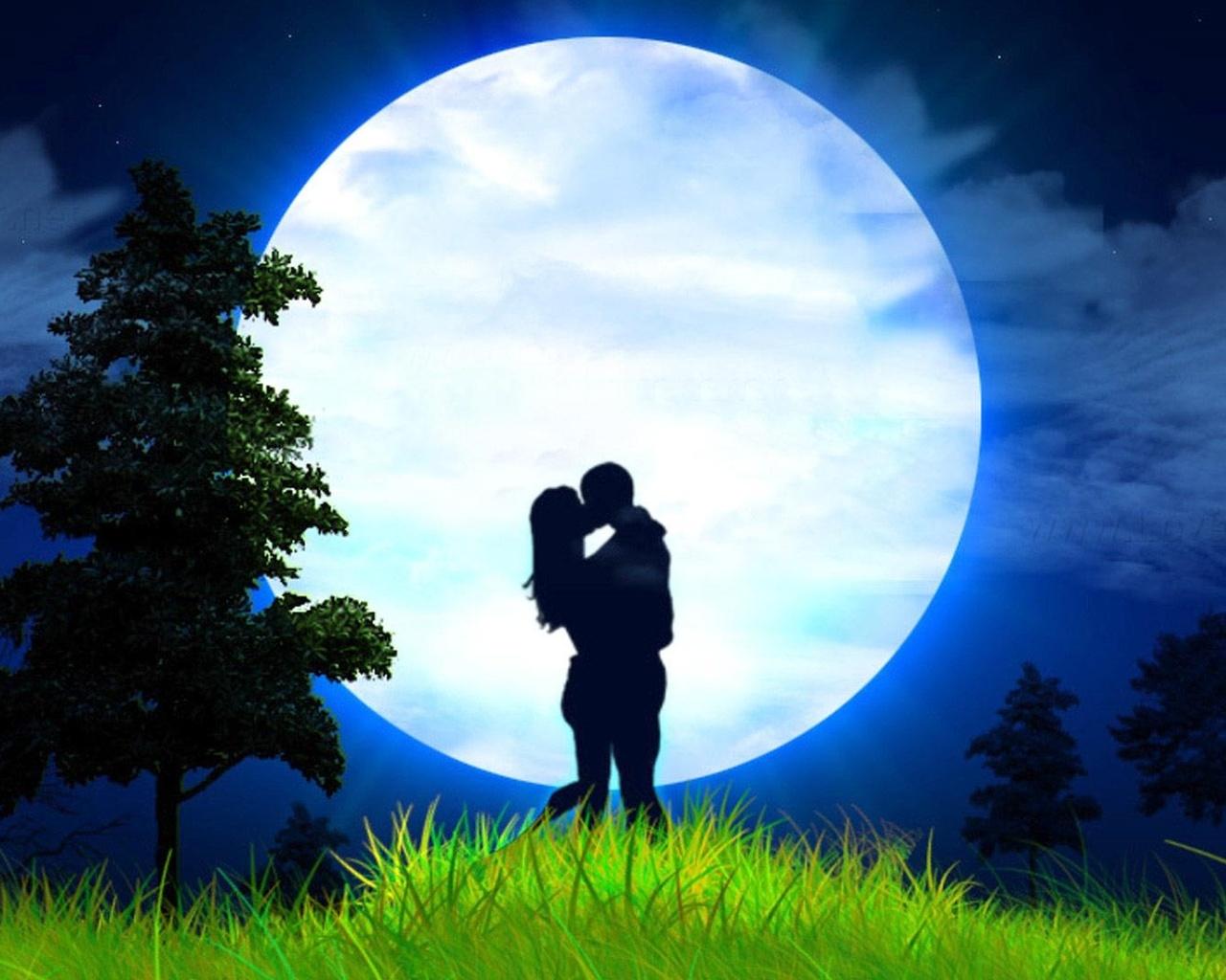 Открытки ночь и влюбленные