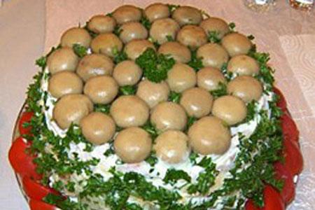 Салат полянка грибами фото