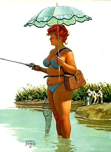 жена напросилась пойти с мужем на рыбалку. и тут на удочку мужа попалась золотая рыбка