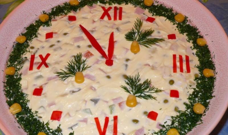 Оформление новогоднего салата с
